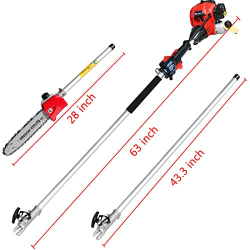 Pole Saw,Powerful Gas Pole Chainsaw 42.7CC 2-Cycle 8.2 FT to 11.4 FT Cordless Extension Pole Saw Tree Trimmer Long Reach Saw