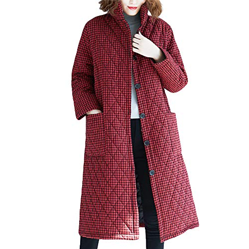 TnaIolr Women's Winter Warm Coat, Women Winter Warm Cotton Linen Plaid Print Buttons Pockets Long Coat Outwear