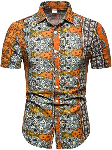 Men's Floral Luxury Design Printed Short Sleeve Button Down Shirts with Linen, T33 Orange, M/38 = Tag XL