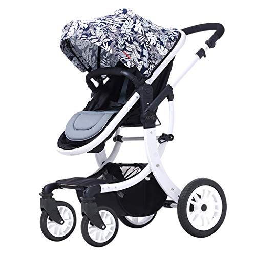 Pushchairs Prams Lightweight Two-Way High Landscape Stroller, Adjustable Awning Seat Belt Folding Pedal Brake Damping Design Baby Pushchairs Strollers (Color : F)