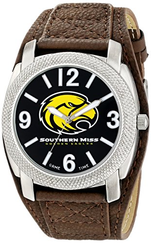 (Game Time Men's 'University of Southern Mississippi Defender' Quartz Metal and Polyurethane Casual Watch, Color:Brown (Model: COL-DEF-SMS))