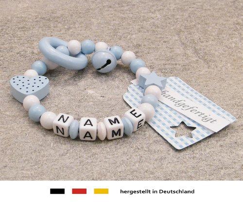Baby Greifling Beißring geschlossen mit Namen | individuelles Holz Lernspielzeug als Geschenk zur Geburt & Taufe | Jungen Motiv Herz in blau