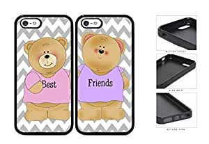 Best Friends Teddy Bear Chevron Set Rubber Silicone TPU Cell Phone Case Apple iPhone 5 5s