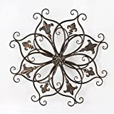 outdoor wall decor metal square - Asense Home Decorative Scrolled Metal Wall Decor, Bauhinia and Round Fleur-de-Lis Starburst Design, Bronze