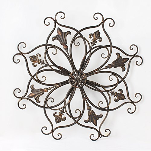 Asense Home Decorative Scrolled Metal Wall Decor, Bauhinia and Round Fleur-de-Lis Starburst Design, - Metal De Lis Fleur