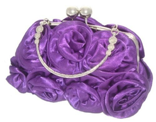prom Wedding Party Silk Evening 12 Colours PURPLE Satin Flower Handbag ROYAL Rose BLUE Clutch q8pdxYwtx