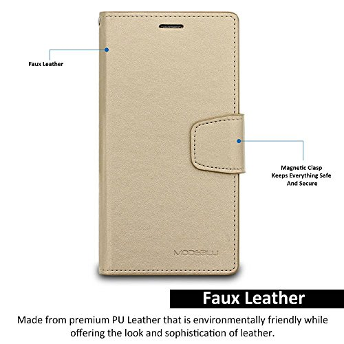 Galaxy Note 4 Case, ModeBlu [Classic Diary Series] [Gold] Wallet Case ID Credit Card Cash Slots Premium Synthetic Leather [Stand View] for Samsung Galaxy Note 4 Photo #4