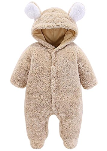 LOTUCY Newborn Baby Boys Girls Cartoon Bear Ears Warm Fleece Hooded Romper Jumpsuit Size 3-6 Months/Tag66 (Camel)
