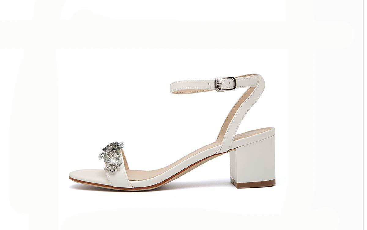 KOKQSX-Mode grob mittel - und 6 cm angeschnallt Zehen Leder Sandalen 39 weiße