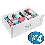 mDesign Adjustable Drawer Organizer Dividers for Dresser Storage - Pack of 4, Chocolate/Black