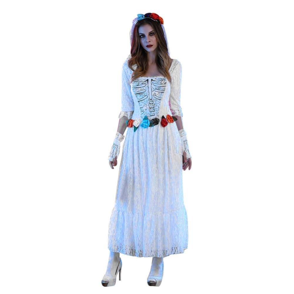 erthome mujeres de encaje blanco vestido de novia cadáver disfraz ...
