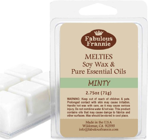 (MINTY 2.5oz of 100% Pure & Natural Soy Candle Meltie/Tart/Melts made with Pure Spearmint and Peppermint Essential Oils)