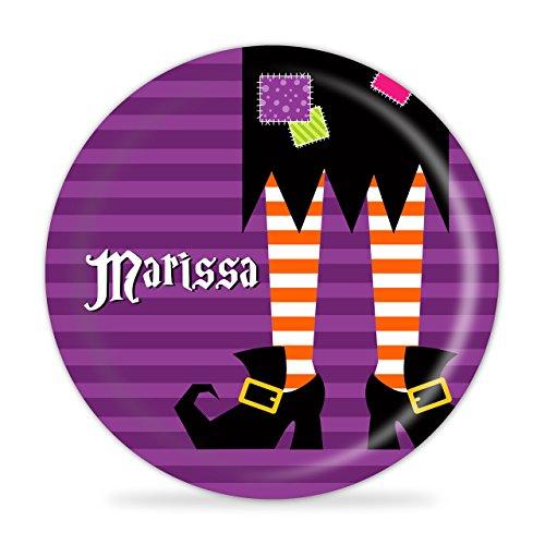 (Halloween Plate - Witch Legs, Purple Stripes)