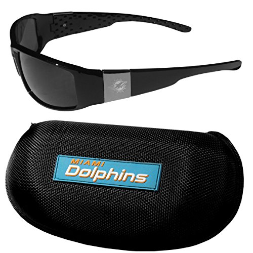 - NFL Miami Dolphins Chrome Wrap Sunglasses & Zippered Carrying Case