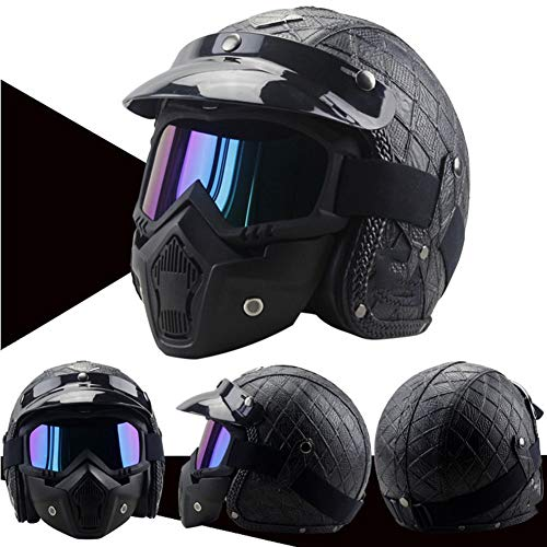 Leather Helmets,Black Helmet + Mask,Motorcycle Chopper Bike