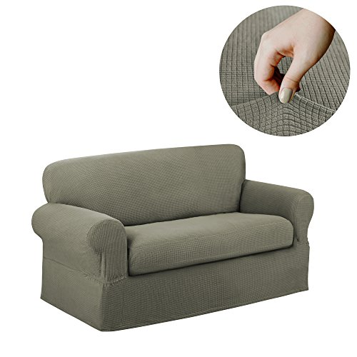 Maytex Reeves Stretch 2 Piece Loveseat Furniture Cover Slipcover, Dark Sage - Sage Couch