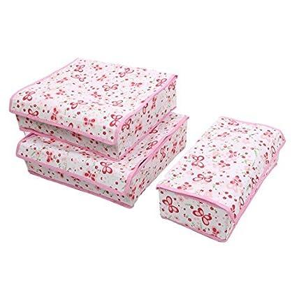 eDealMax Mariposa patrón Para el hogar 7 compartimentos Sujetador Interior Calcetines Corbatas 3pcs Caja de almacenamiento