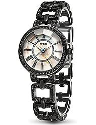 TIME100 Fashion Diamond Skeleton Roman Numerals Black Bracelet Ladies Watch #W50220L.04A