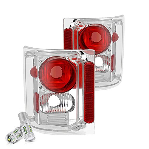 (VIPMOTOZ For 1973-1987 Chevy GMC C/K 1500 2500 3500 Pickup Suburban Chrome Bezel Euro Style Altezza Tail Light Lamp Assembly - CREE LED Reverse Bulbs Included, Driver & Passenger Side Replacement Pair)