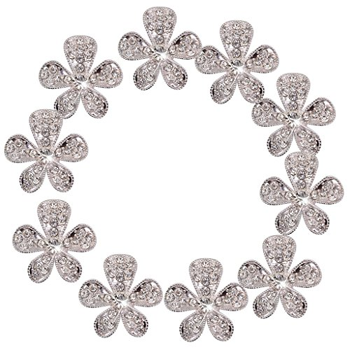 10pcs Phenovo Flower Rhinestone Buttons DIY Craft Embellishment - Flower Embellishment