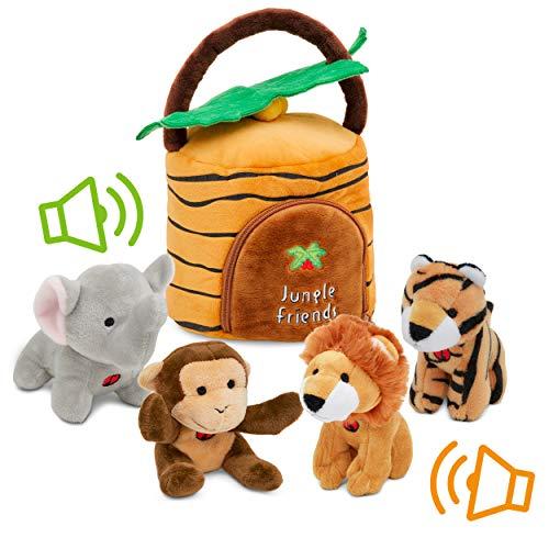Plush Talking Jungle Animals Toy Set Plush Creations (5 Pcs)   Baby Stuffed Animal Set Includes Elephant, Monkey, Lion, Tiger Plush Carrier/Organizer   Great Gift Boys, Girls, Baby Shower,