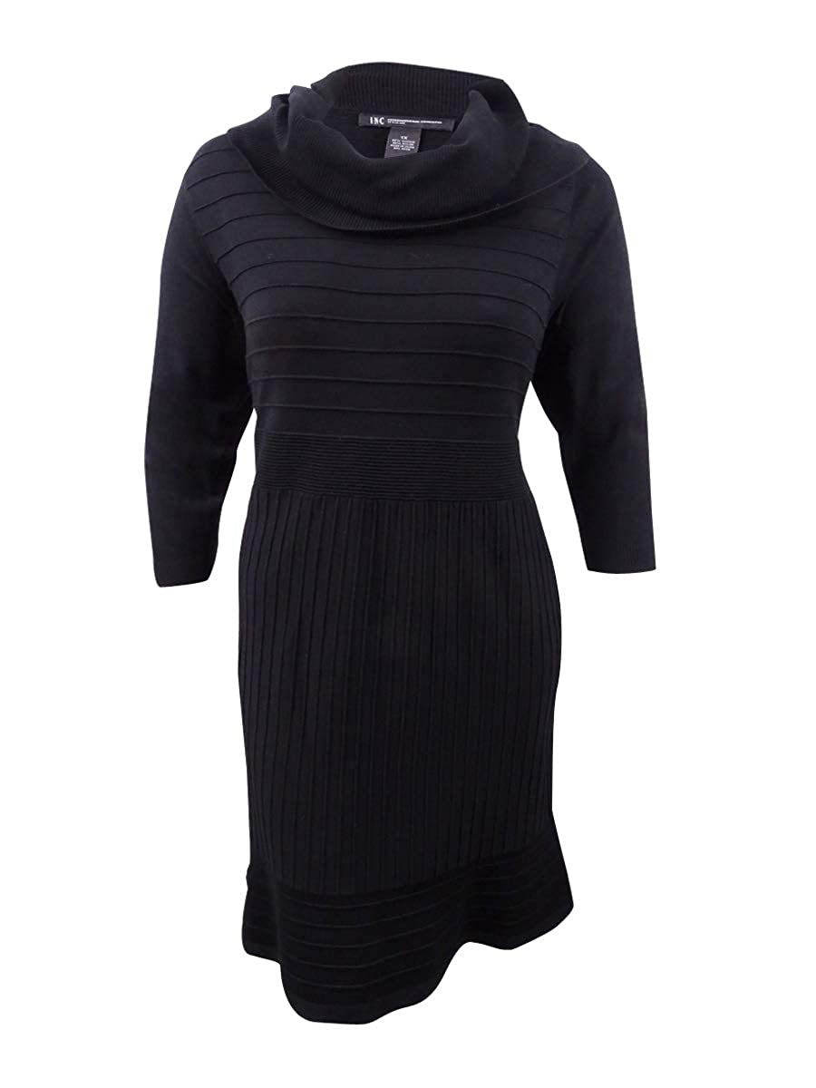 Deep Black Inc Womens Plus KneeLength CowlNeck Sweaterdress