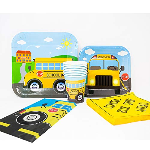 (School Bus Deluxe Party Packs (70 Pieces for 16 Guests!), Kindergarten Party Supplies, School Bus Birthdays)