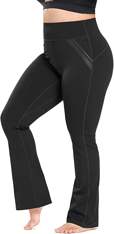 Womens Plus Size Dress Yoga Leggings with Pocket High Waist Stretch Bootcut Flared Leg Pants for Indoor Sport