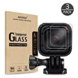 (Pack of 3) Tempered Glass Screen Protector for Gopro Hero 4 Session Hero 5 Session, Akwox 0.3mm 9H Hard Scratch-resistant Camera Lens Film for GoPro Hero4 Session/Hero5 Session Camera Accessories