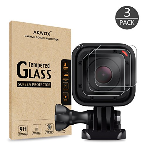 (Paquete de 3) Protector de pantalla de cristal templado para Gopro Hero 4 Session Hero 5 Session, cámara de lente de cámara resistente a los arañazos resistente a los arañazos de 0,3 mm de Akwox 0,3 mm para GoPro Hero4 Session /Hero5 Session Accesorios
