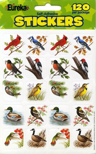 Animal Stickers - Eureka Birds Stickers, 120 Per Pack
