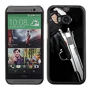 Soft Silicone Rubber Case Hard Cover Protective Accessory Compatible with HTC ONE M8 2014 - Modern pistol