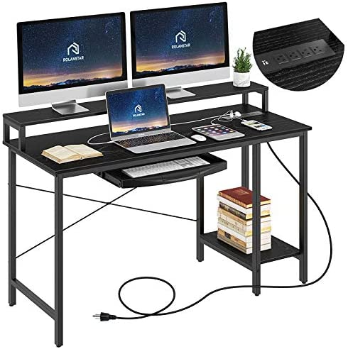 "Rolanstar Computer Desk with Power Outlet and Keyboard Tray Monitor Stand 47"", Home Office Writing Desk, Rustic Style Workstation Table with Storage Shelves,Stable Metal Frame, Black"