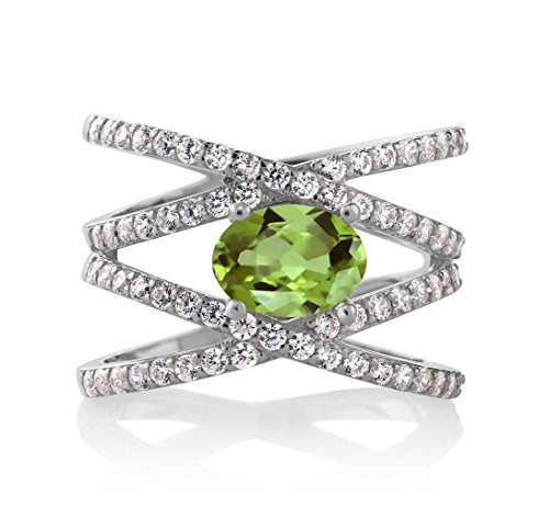 2.26 Ct Oval Green Peridot 925 Sterling Silver Women's Ring (Ring Size 9)