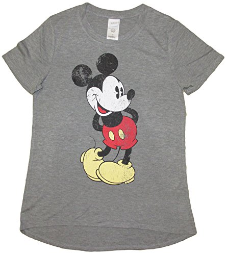 Disney Juniors Mickey Minnie Mouse Soft Crewneck Curved Hem T-Shirt