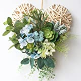 Rattan Wreath Artificial Cactus Wreath Home Decor Wreath Spring Summer Love Wreath Front Door Wall Hanging