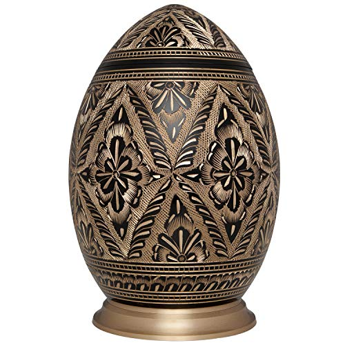 Red Lotus Cremation Urn by Liliane Memorials – Urns for Human Ashes Remains – Brass – Suitable for Funeral Cemetery Burial or Niche – Large Size for Adults up to 200 lbs – Egg Silver Lotus Flower