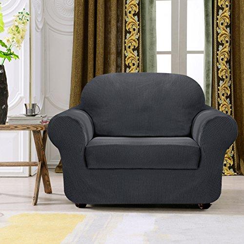 Subrtex 2-Piece Spandex Stretch Sofa Slipcover (Chair, Gray)