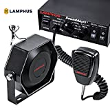 LAMPHUS SoundAlert Siren & Slim Speaker PA System [100W] [6 Modes] [Heavy Duty] [118-124dB] [Microphone] [Hands-Free] [Dual 20A Switches] Emergency Horn Sound System for Police Cars & Fire Trucks