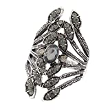 BEUU 2018 Hot The New Vintage Diamond Leaves Rings Women Retro Ring Crystal Jewelry Size 8-9 for Women's Fashion Gold Silver Wedding Bridal Stud Mens Sterling (Silver, 8)