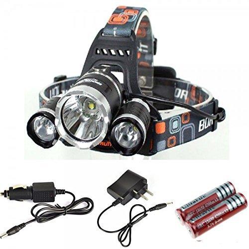 ZIGLY LED Headlamp Rechargeable Waterproof Head Flashlight 3 Cree LED