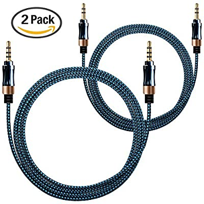 AFUNTA 2 Pack 3.5mm Nylon Braided Auxiliary Audio Cable (3 Pin 1M + 4 Pin 1.5m) AUX Cable for Headphones, iPods, iPhones, iPads, Mp3 Player, Home / Car Stereos-Blue