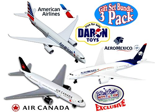 Plane Model Set - Daron American Airlines Airbus A350, Air Canada & Aeromexico Boeing 787 Dreamliner Die-cast Planes North America Collection Matty's Toy Stop Exclusive Bundle - 3 Pack