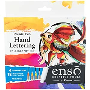 Pilot Enso Parallel Pen Kit with Extra 6 Pack Black Refills; 4 Nib Sizes (1.5mm, 2.4mm, 3.8mm, 6.0mm) Calligraphy, Hand Lettering or Whatever Your Muse Inspires (FP3-001-KTAZ)