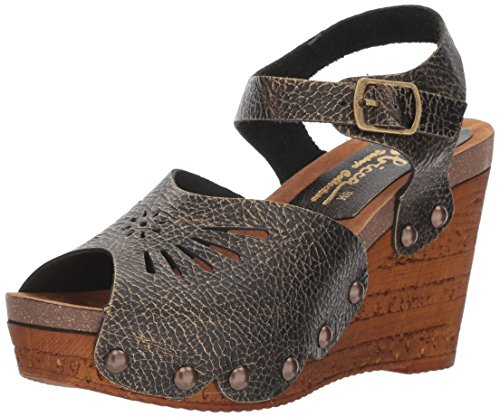 Sbicca Women's Langsa Wedge Sandal, Bronze, 7 B US Bronze Leather Wedge