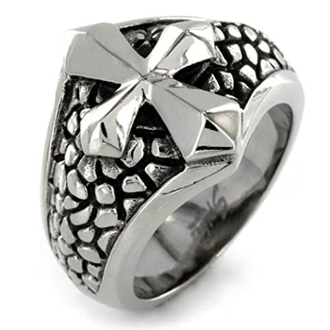 Stainless Steel Cross on Pebble Band Ring - Size 13 (Pebble Band Ring)