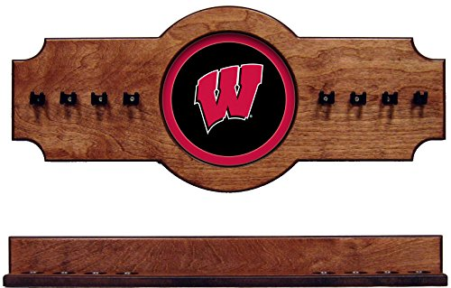- NCAA Wisconsin Badgers UWICRR100-P 2 pc Hanging Wall Pool Cue Stick Holder Rack - Pecan