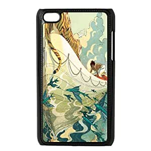 Angry Tiger Series,Ipod Touch 4 Case,Tiger On Boat Phone Case For Ipod Touch 4[Black]