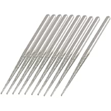 uxcell 10Pcs 3mm Dia Shank Diamond Coated Tip Abrading Buffing Needle Files 70mm Long