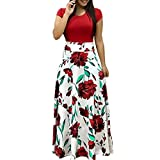 Minisoya Womens Elegant Boho Floral Printed Casual Dress Loose Short Sleeve Beach Cocktail Party Long Maxi Dress (Red, XL)